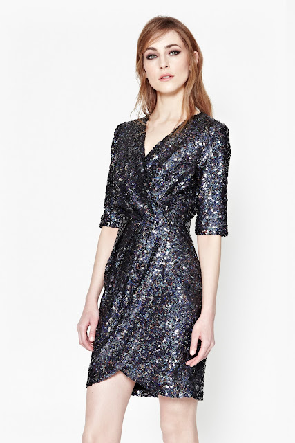 french connection blue sequin dress, french connection pink sequin dress, sequin wrap dress,