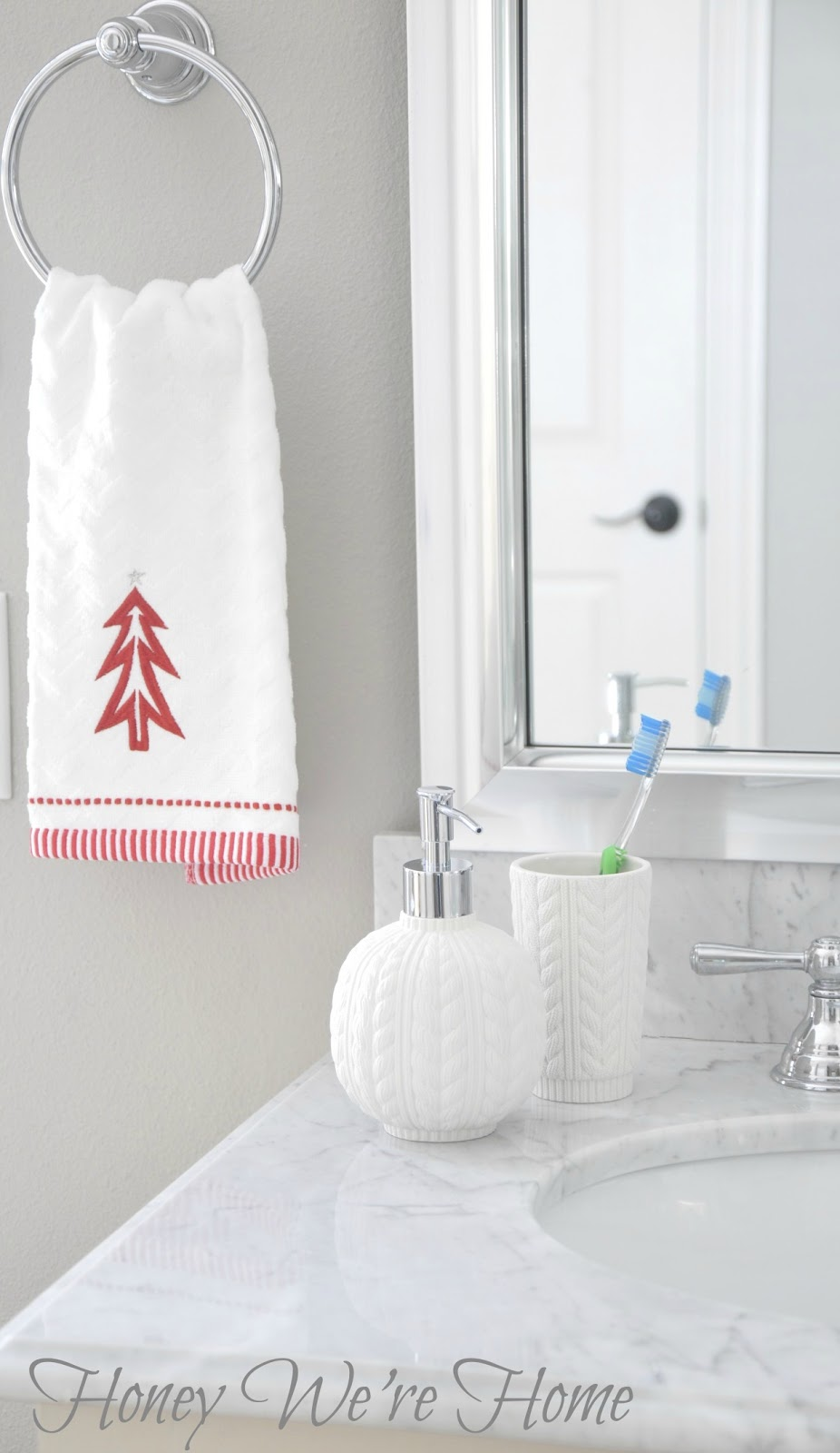 Target holiday accessories in the bathroom honey we 39 re home for Red glass bathroom accessories