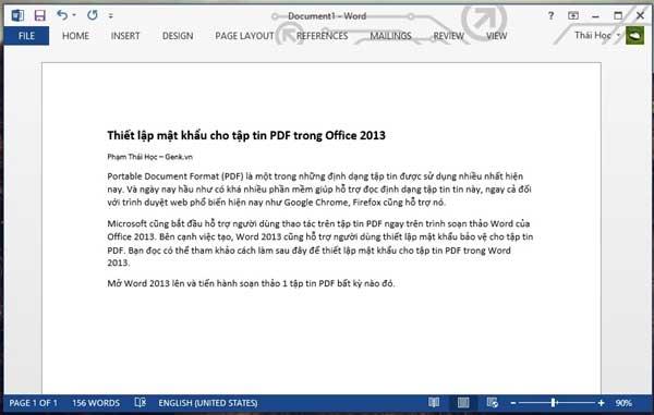 Thiết lập mật khẩu cho tập tin PDF trong Office 2013 2