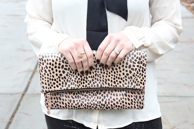 leopard clutch, bow blouse
