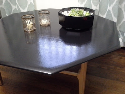 Mid Century Modern Octagonal Coffee Table Gloss Black and Brass Gold