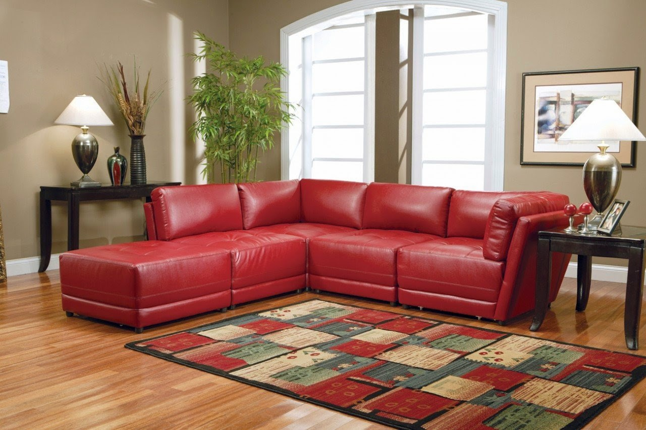 Red leather sofa for Red leather sectional sofa with ottoman