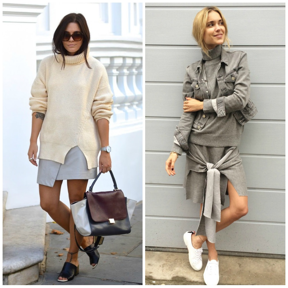 chunky cream turltle neck sweater + asymmetrical skirt + mules - all grey outfit + roll neck jumper + sweater skirt + white trainers - fashion blogger outfit fashion trend autumn fall 2014 street style
