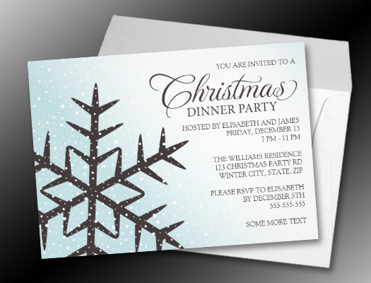 Brown snowflake pale aqua Christmas dinner party invitations