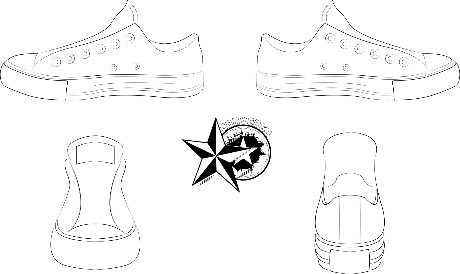 How To Draw Converse Shoes From The Front how to draw converse shoes ...