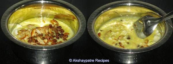 add fried dry fruits and saffron milk, cardamom powder