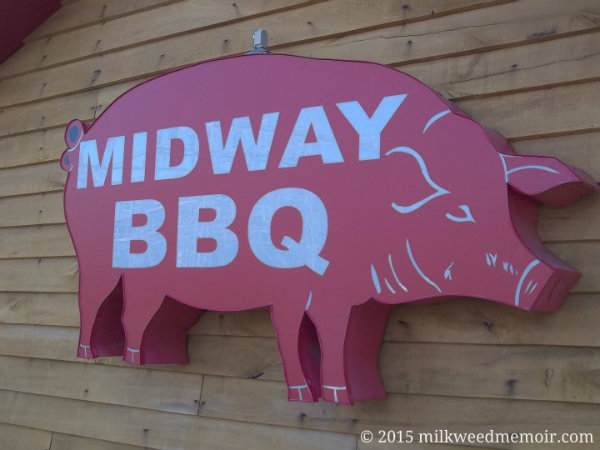 Pink pig sign of Midway BBQ of Buffalo, South Carolina, in business since 1941