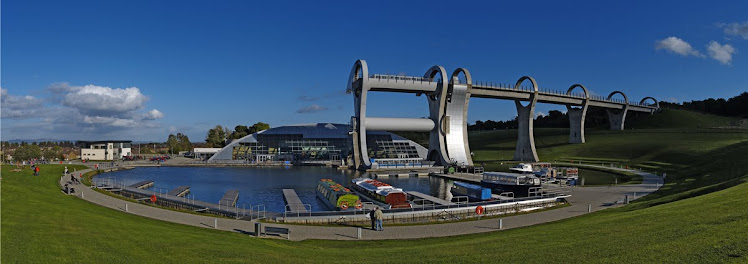 Falkirk Wheel, Panoramic view.