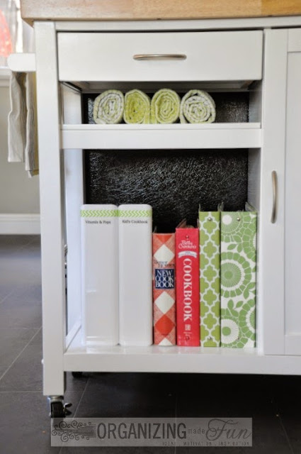 Kitchen cart holds a small collection of recipe books :: OrganizingMadeFun.com