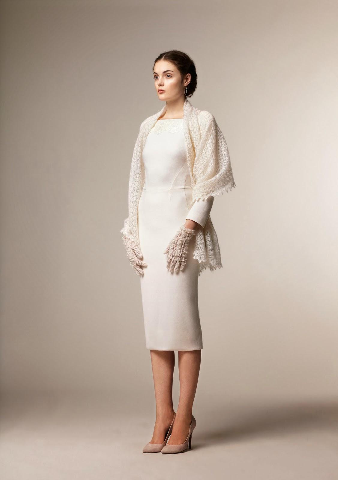 White modest midi dress with sleeves - modest pencil skirt