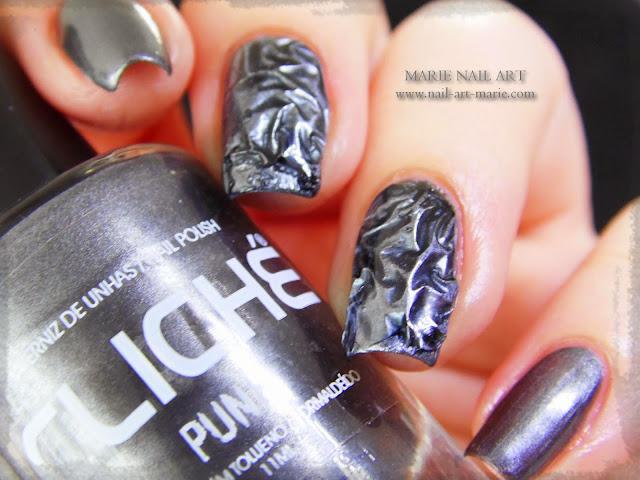 Nail Art effet métal froissé 3D8
