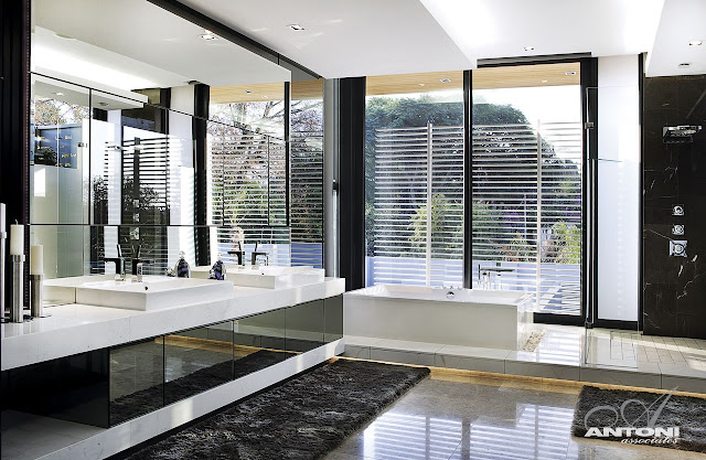 Picture of the marble furniture in the modern minimalist bathroom designed by SAOTA