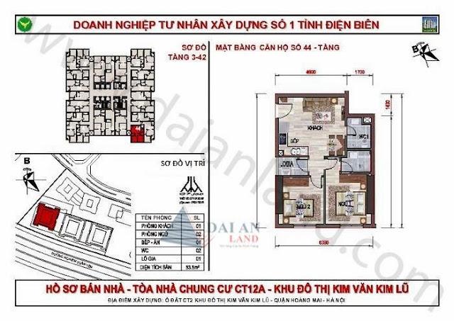 Căn 44 - Tòa CT12A Chung Cư Kim Văn Kim Lũ