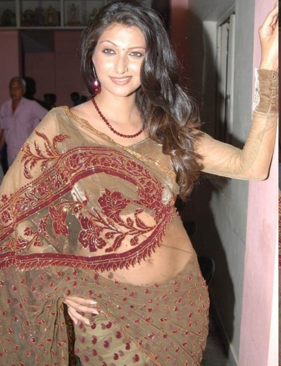 Latest Hot Bikini Hamsa Nandini in Cool Saree Thigh Show