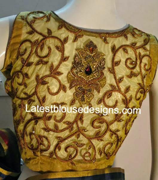 transparent back blouse designs
