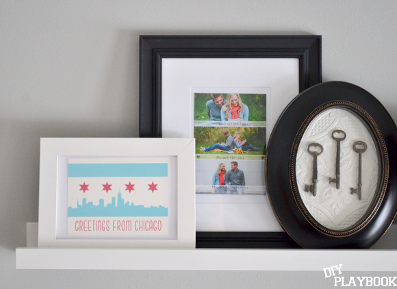 We love framing momentos and using them in our decorating, like I've done with our new picture ledges.