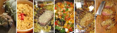 Zubereitung Lammkarree zu Kräuterkruste mit Paprika-Feta-Gemüse und Rosmarinkartoffeln