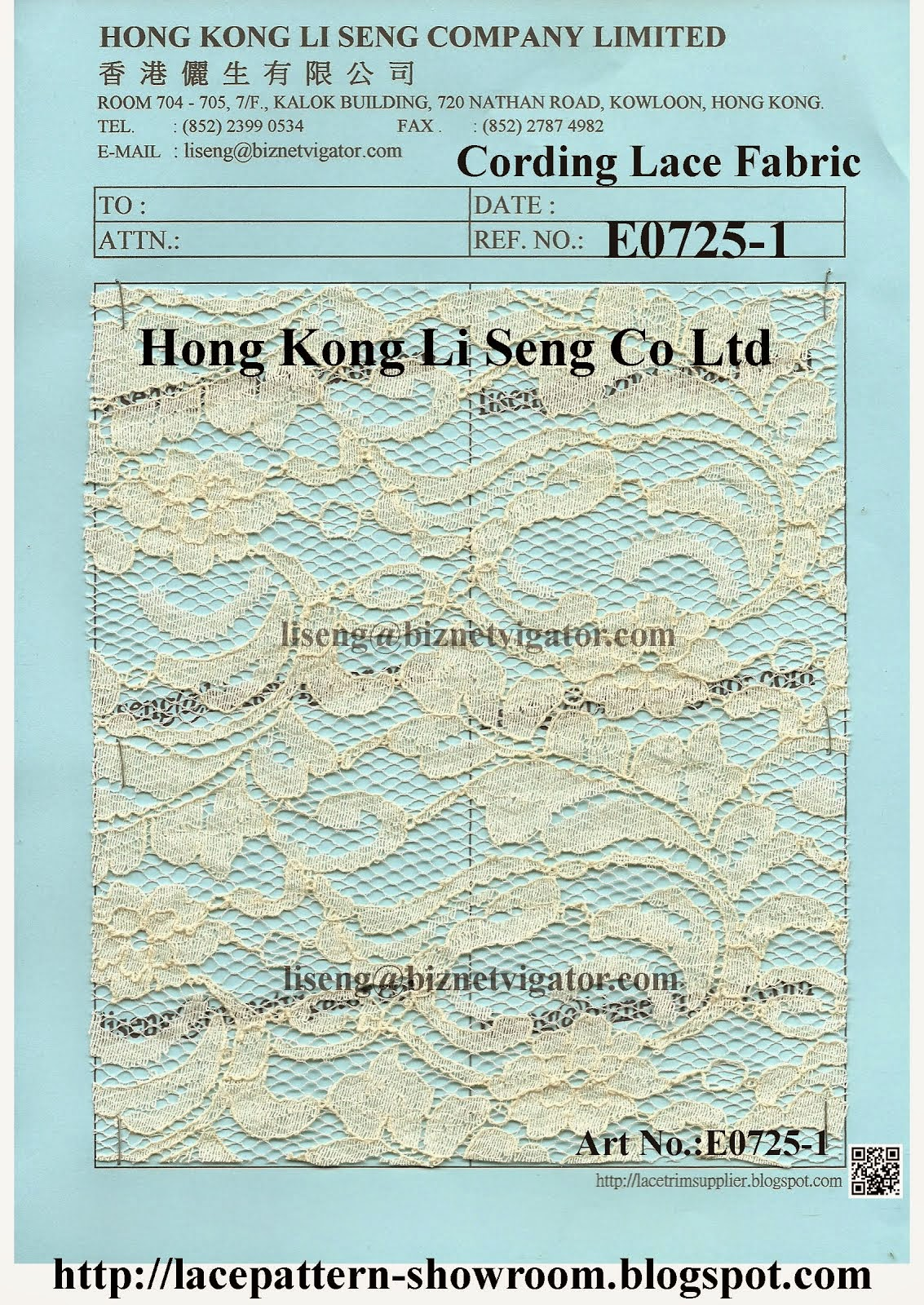 Embroidered Cotton Cording Lace Fabric Factory Wholesale and Supplier - Hong Kong Li Seng Co Ltd