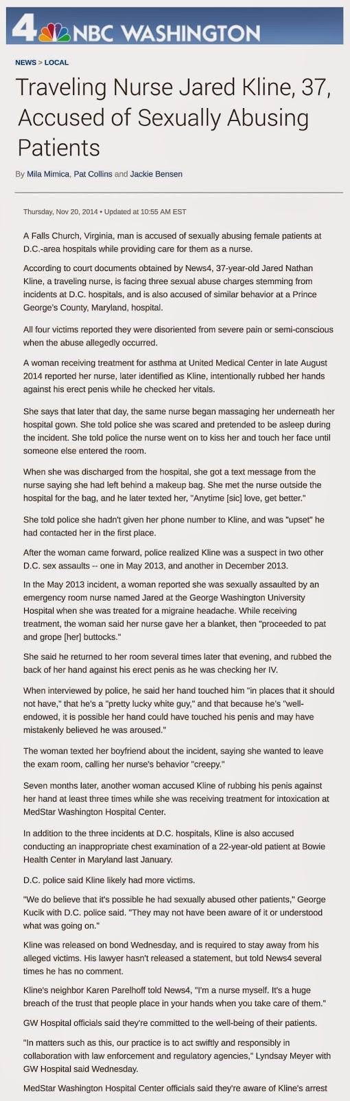http://www.nbcwashington.com/news/local/Jared-Kline-Traveling-Nurse-DC-Area-Hospitals-Sex-Abuse-Patients-283246701.html