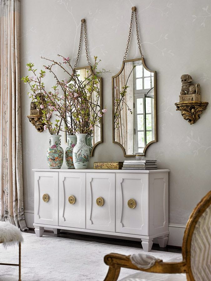 Simple details goodbye green buffet for Dining room mirror decorating ideas