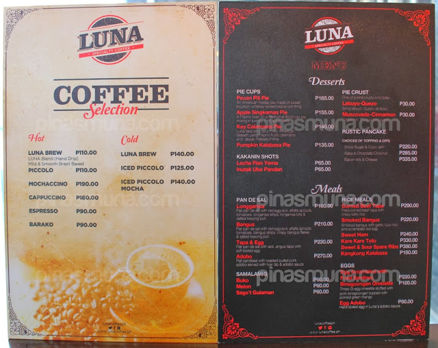 Luna Coffee BGC Menu