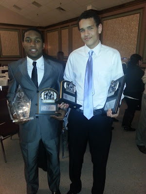 Senior Keith Watkins from Moeller with his 2012 GCL South First Team All-GCL & Player of the Year Awards and Junior  Wide Receiver Derek Kief from La Salle with his 2012 GCL  South First Team All-GCL & Wide Receiver of the Year Awards