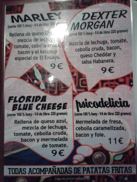 Carta hamburguesas especiales