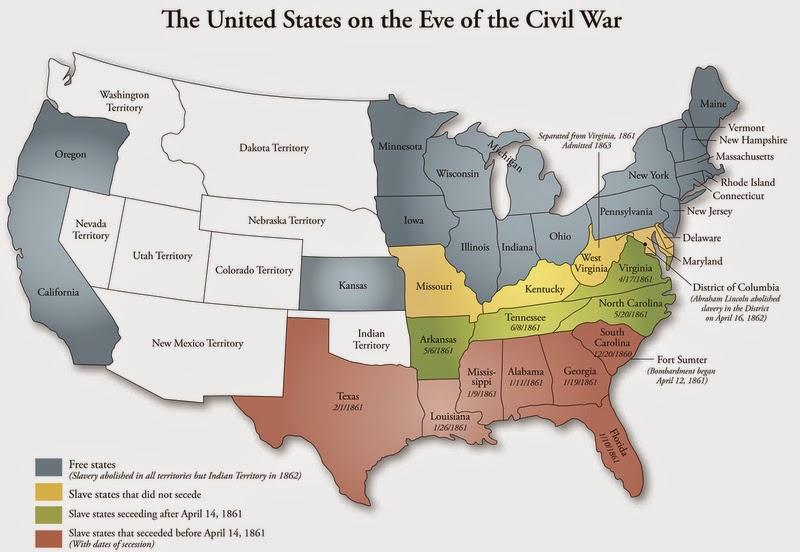 History The Civil War Art People Places And Battles - Us map before civil war