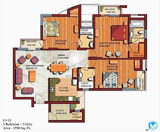 Czar Suites :: Floor Plans:-G+13 3 Bedroom + Utility Area - 2000 sq. ft.
