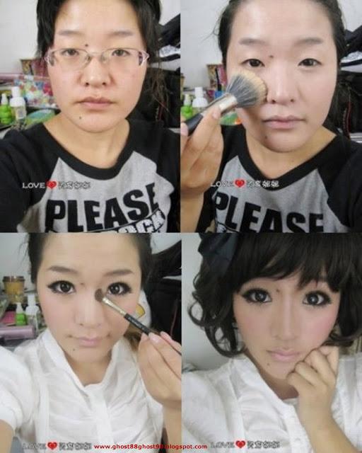 ... gambar tersebut perbandingan sebelum make up dan juga setelah make up