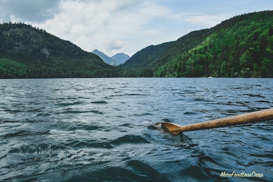 One oar in the water looking toward an island