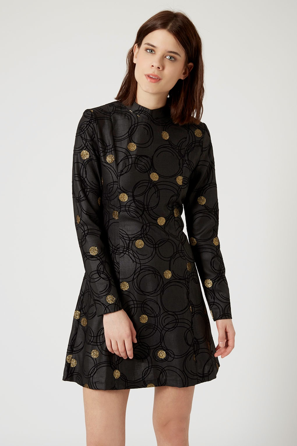 sister jane black dress gold spots, black dress gold spots,