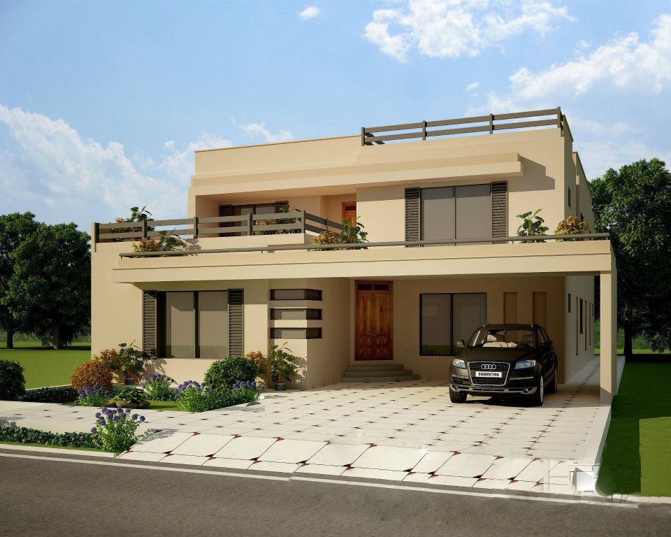 Wapda Town,5 Marla10 Marla 1 Kanal Plot 3D front Elevation Of House in