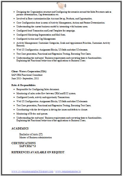 Resume Sample Resume Crm Consultant example resume sap consultant