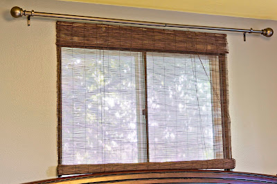 Super inexpensive bamboo blinds--a garage sale find! without curtains