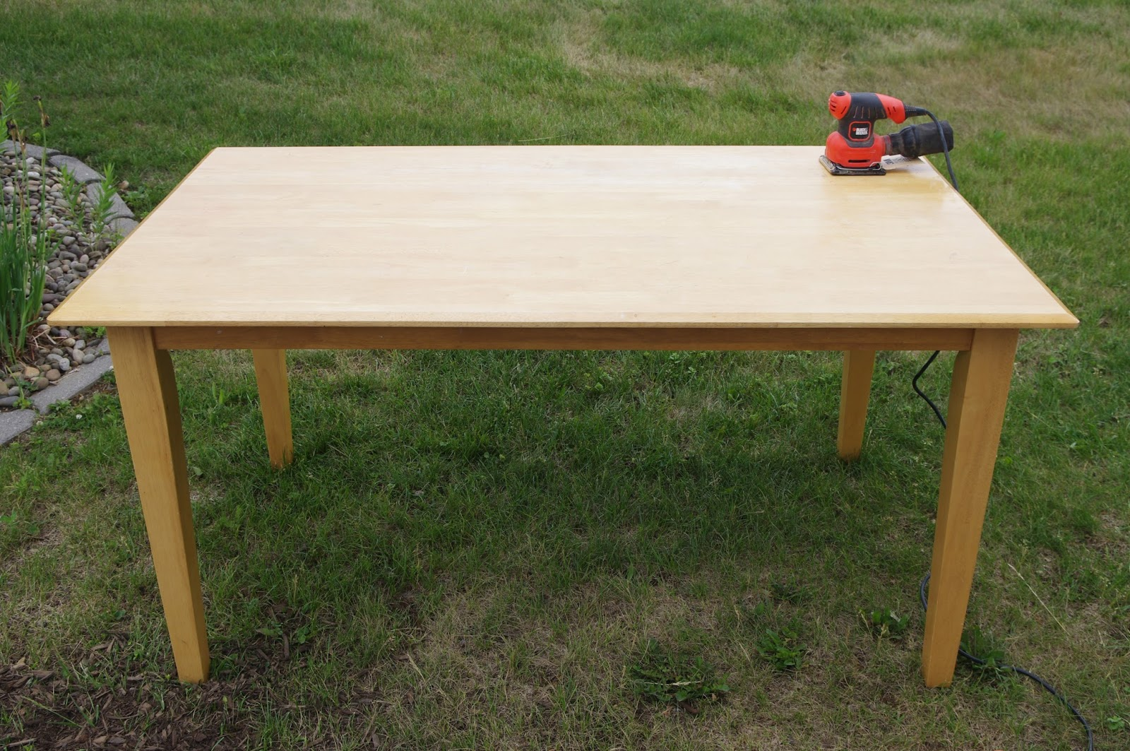 Nice My Husband Helped Me Carry The Table Outside Where I Used A Power Sander To  Strip The Old Finish And Reveal The Bare Wood.