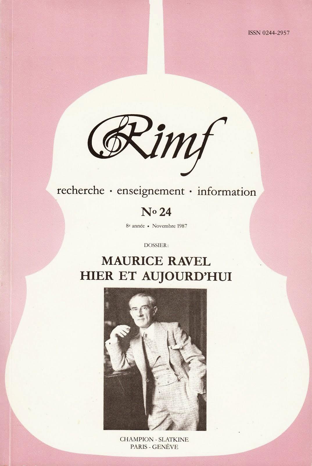 Maurice Ravel hier et aujourd'hui RIMF 1987 (épuisé)