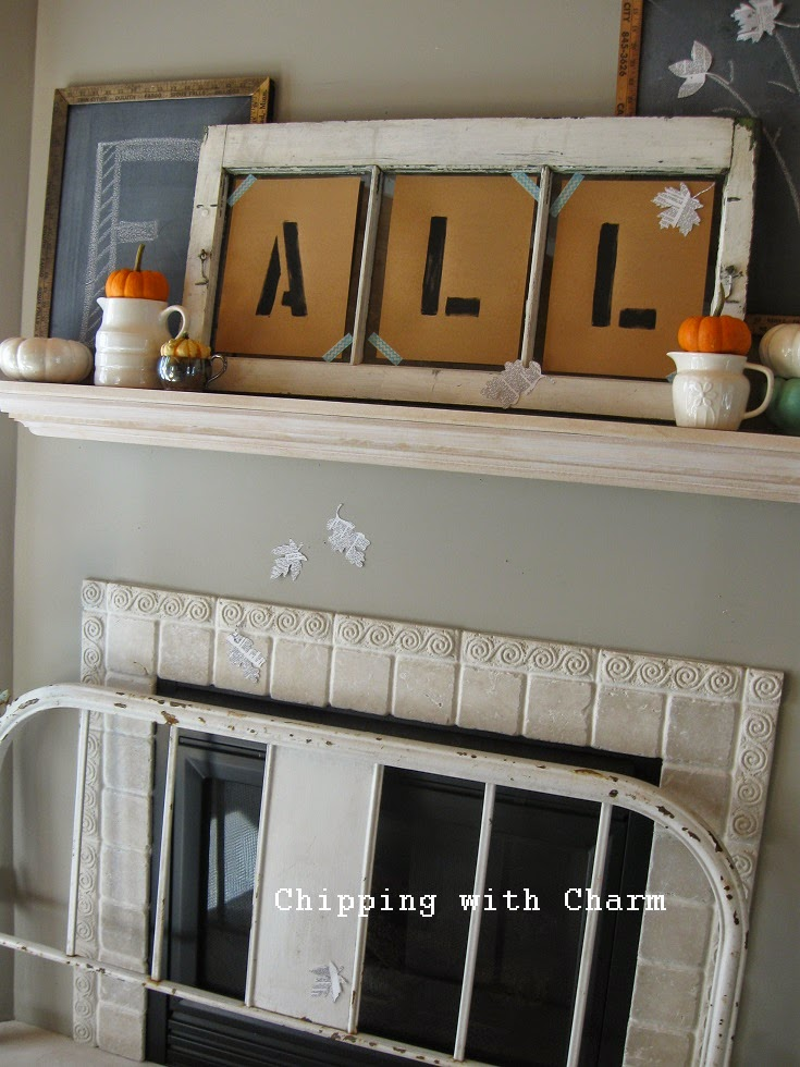 Chipping with Charm: Simple Fall Mantel...http://www.chippingwithcharm.blogspot.com/