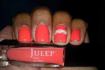 Julep, Gloria, coral, lace, sticker, nail art, mani