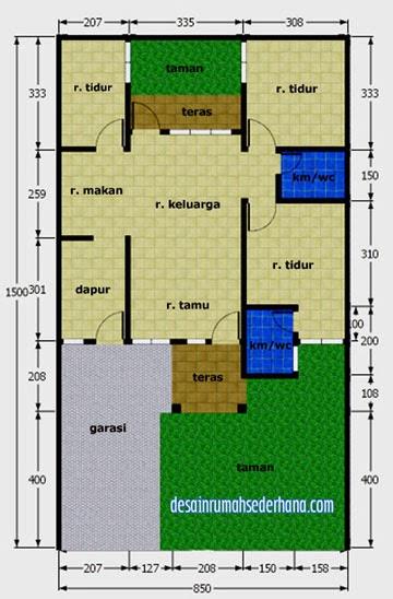 gambar desain rumah sederhana type 75 - denah
