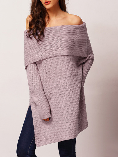Skinny Buddha SheIn off shoulder split sweater