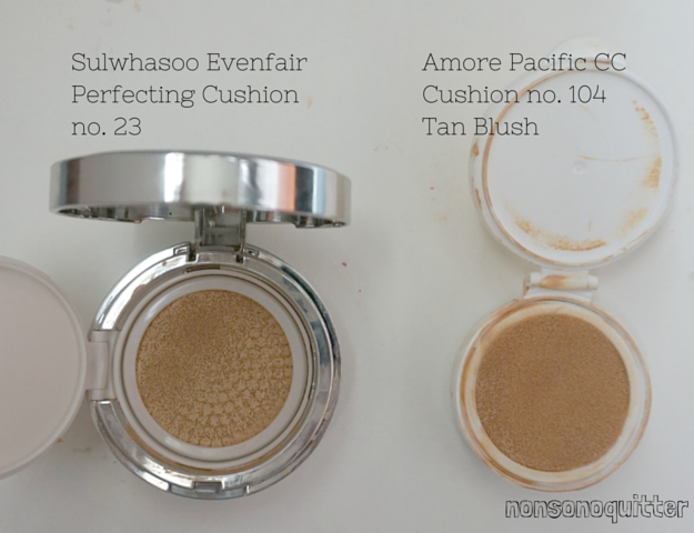 sulwhasoo evenfair perfecting cushion review swatch in no 23 spf 50+ comparison with amore pacific cc cushion in tan blush 104 spf 50 versus battle