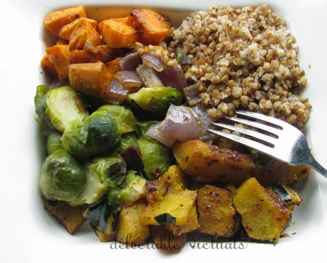 Roasted Acorn Squash, Jewel Yams, Brussel Sprouts with Kasha