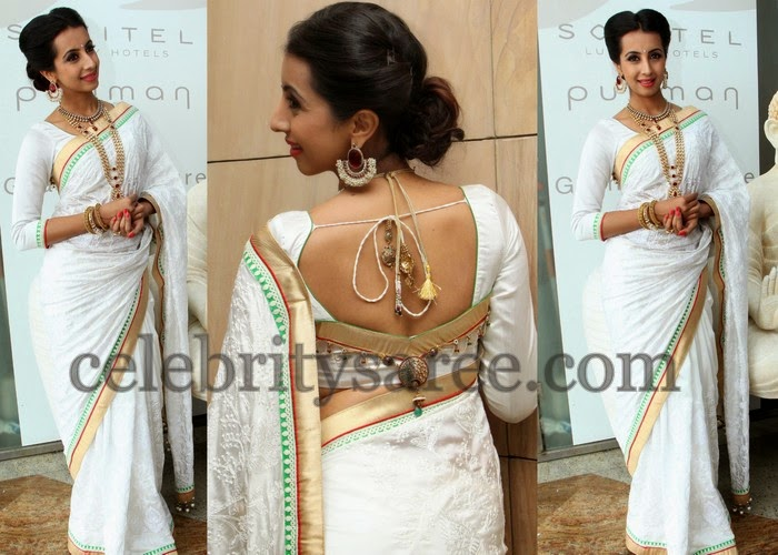 Sanjana White Thread Work Saree