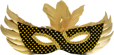 Máscara Carnaval PNG - penas douradas