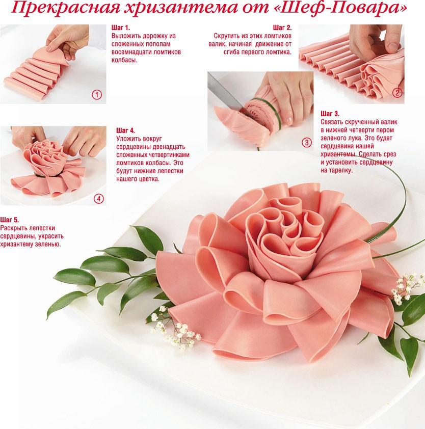 Как сделать цветы из колбасы