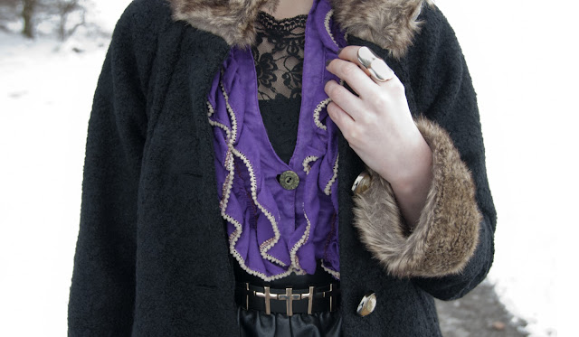 frills, cross belt, coat with fur, lace