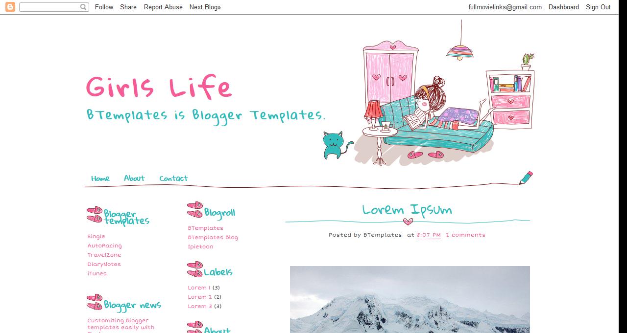 Free Blogspot Blog Templates: Girls Life Blogspot Template
