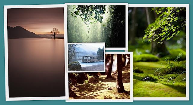 panel concepto - paisajes relajantes, hermosos, orientales