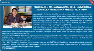 Info Penerimaan Mahasiswa Baru UNRI 2013